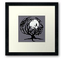 Creepy Tree in Gray Framed Print