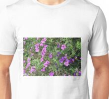Green bush with purple flowers. Unisex T-Shirt