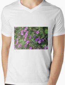 Green bush with purple flowers. Mens V-Neck T-Shirt
