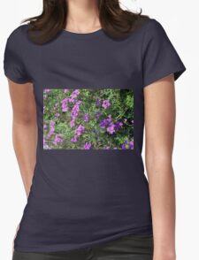 Green bush with purple flowers. Womens T-Shirt