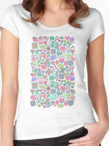 Macarons and flowers Women's Fitted Scoop T-Shirt
