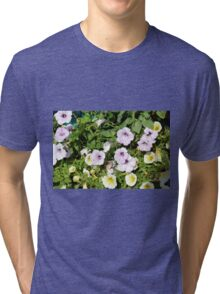 Colorful flowers and green leaves. Tri-blend T-Shirt