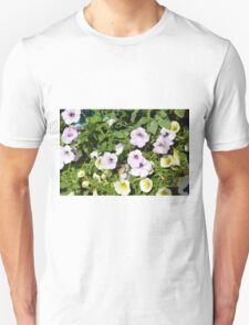 Colorful flowers and green leaves. Unisex T-Shirt