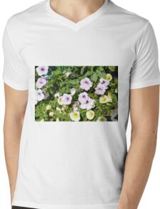 Colorful flowers and green leaves. Mens V-Neck T-Shirt