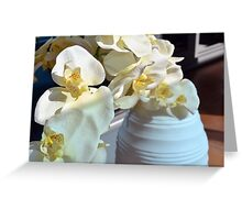 White flowers in the vase. Greeting Card