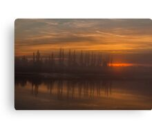 Misty Sunset over Calm River Water Canvas Print