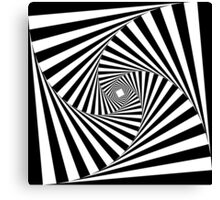 Black and White Psychedelic Spiral Tunnel Canvas Print