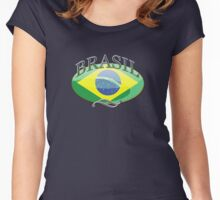 Brasil Button Women's Fitted Scoop T-Shirt