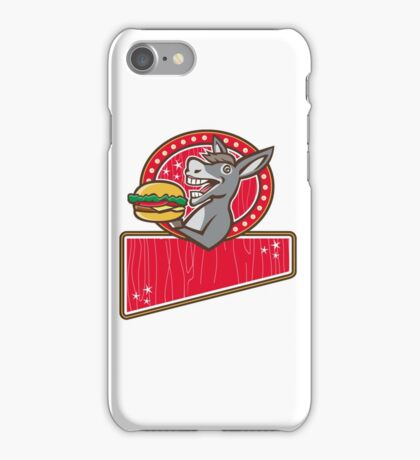 Donkey Mascot Serve Burger Rectangle Retro iPhone Case/Skin