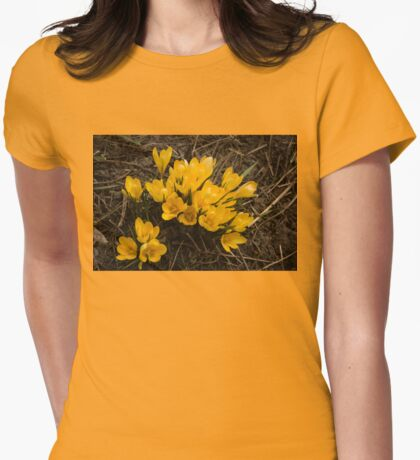 Spilled Gold - Bright Yellow Crocus Harbingers of Spring Womens Fitted T-Shirt