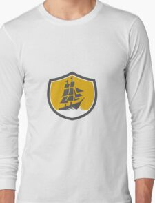 Sailing Galleon Tall Ship Crest Retro Long Sleeve T-Shirt