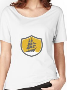 Sailing Galleon Tall Ship Crest Retro Women's Relaxed Fit T-Shirt
