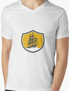 Sailing Galleon Tall Ship Crest Retro Mens V-Neck T-Shirt