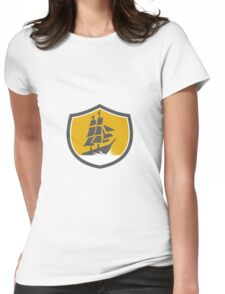 Sailing Galleon Tall Ship Crest Retro Womens Fitted T-Shirt