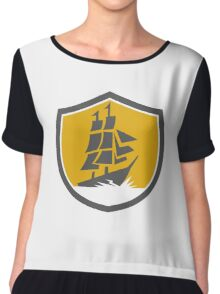 Sailing Galleon Tall Ship Crest Retro Chiffon Top
