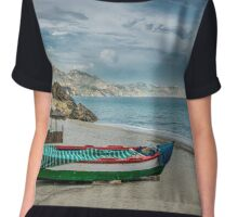 Beautiful deserted spanish beach Chiffon Top