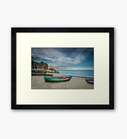 Beautiful deserted spanish beach Framed Print