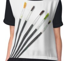 set of brushes for drawing isolated  Chiffon Top