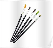 set of brushes for drawing isolated  Poster