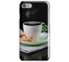 white Cup of coffee and waffles isolated  iPhone Case/Skin