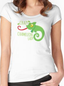 Crazy Chameleon lady Women's Fitted Scoop T-Shirt