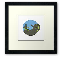 Rower Rowing Machine Circle Retro Framed Print