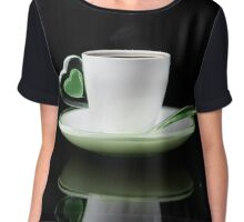 white Cup of coffee isolated  Chiffon Top