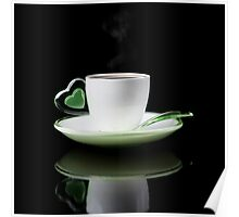 white Cup of coffee isolated  Poster