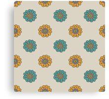 Retro doodle floral pattern Canvas Print