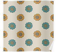 Retro doodle floral pattern Poster
