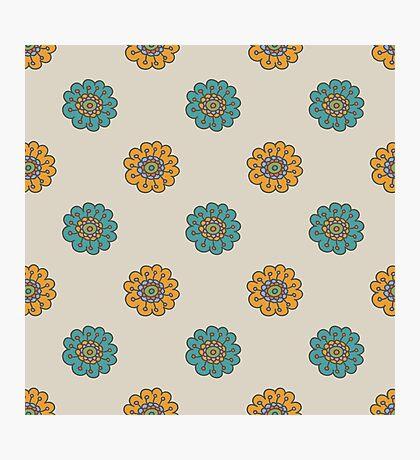 Retro doodle floral pattern Photographic Print