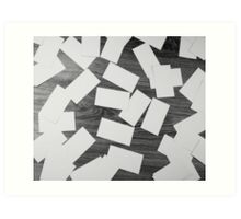 white sheets of paper scattered  Art Print