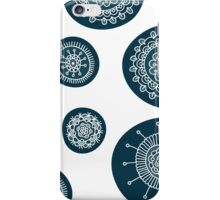 Cute doodle floral blue pattern iPhone Case/Skin