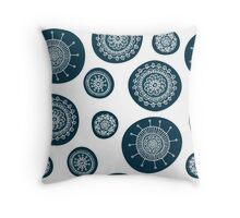 Cute doodle floral blue pattern Throw Pillow