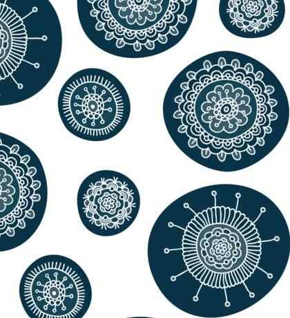 Cute doodle floral blue pattern Sticker