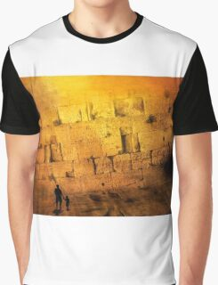 Father and son holding hands looking at the western wall in Jerusalem Graphic T-Shirt
