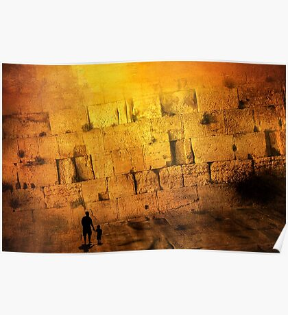 Father and son holding hands looking at the western wall in Jerusalem Poster