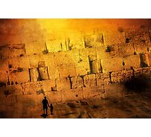 Father and son holding hands looking at the western wall in Jerusalem Photographic Print