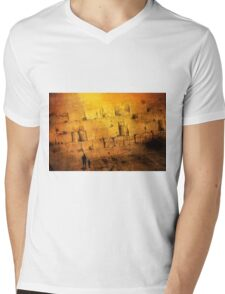 Father and son holding hands looking at the western wall in Jerusalem Mens V-Neck T-Shirt