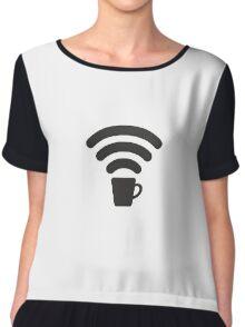 Coffee Wi-Fi Chiffon Top