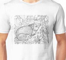 Hedgehog Black on White Unisex T-Shirt