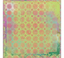 Pop Painted Watercolor - Bright and Bold green and coral pattern Photographic Print