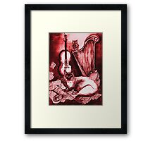 MUSICAL CAT AND OWL  Red White Framed Print
