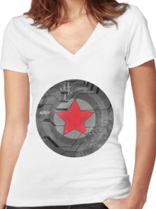 Winter Solider Shield Women's Fitted V-Neck T-Shirt