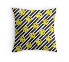 Smiley and Black & White Stripes Pattern Throw Pillow