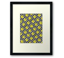 Smiley and Black & White Stripes Pattern Framed Print