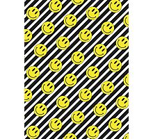 Smiley and Black & White Stripes Pattern Photographic Print
