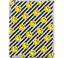 Smiley and Black & White Stripes Pattern iPad Case/Skin
