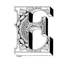 E -  Mandala N°1 inside Alphabet N°1 Photographic Print