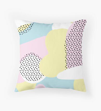 Candy Pink Blue Blobs & Dots Pattern Throw Pillow